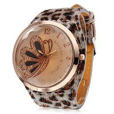 borboleta padrão de leopardo de couro banda relógio de pulso de quartzo analógico das mulheres – BRL R$ 23,24