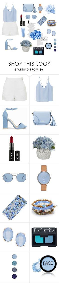 """""""Blue"""" by pamela-annus ❤ liked on Polyvore featuring Topshop, MANGO, Nly Shoes, Kate Spade, NYX, Skagen, Lacey Ryan, Cara, NARS Cosmetics and Terre Mère"""