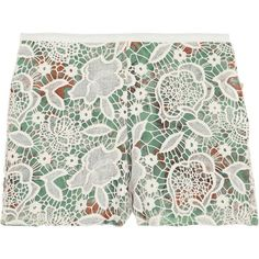 Anna Sui Lace-covered printed silk shorts ($191) ❤ liked on Polyvore