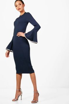 9bd68e77b74 Tall Afia Contrast Flared Sleeve Bodycon Dress Bodycon Fashion