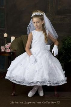 First Communion Dresses – First Communion Veils – Accessories – Boys Suits – Flower Girl Dresses White Communion Dress, Girls First Communion Dresses, First Communion Veils, Holy Communion Dresses, Dresses For Sale, Girls Dresses, Flower Girl Dresses, Communion Hairstyles, Maid Dress