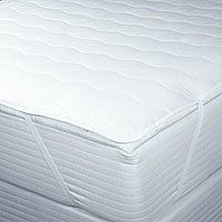 """Carpenter ® Contract Soft ® Flat Mattress Pad with Anchor Bands - Queen Size by Carpenter. $39.99. Size: Queen - 60"""" x 80"""". Design: Stitched wavy pattern on white fabric with elastic anchor bands. Fabric: Front - 50% Cotton / 50% Polyester; Bottom - 100% Non-Woven Polyester. Filling: 100% Polyester Microfiber, 3oz per square yard. Care: Machine wash warm, tumble dry low and separately. Feeling aches when you wake up in the morning? Stop waking up stiff and add a lush layer ..."""