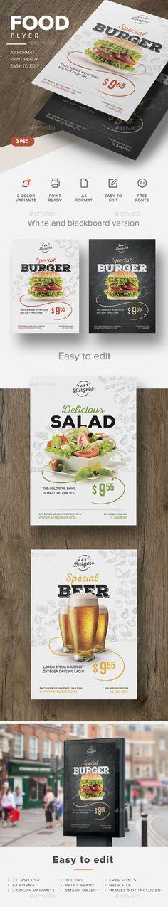 Food Flyer Template #design Download: http://graphicriver.net/item/food-flyer/12736043?ref=ksioks