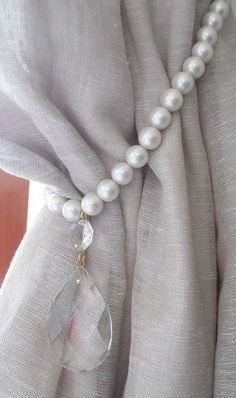 made to order PEARLS and cystals Two decorative curtain tiebacks - drapery holder - tie backs curtain, vintage drops