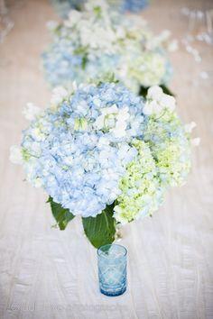 Blue and white hydrangea Centerpiece by Ornamento.