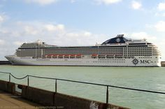 MSC Orchestra Cruise Ship at CT2, Admiralty Pier, Dover Harbour, Kent, England, UK. Berthed at Cruise Terminal 2, Western Docks, 6th May 2010. En route from Santos (Brazil) to Amsterdam (Netherlands, Holland). IMO 9320099, Callsign 3EJF3, MMSI 372497000, Flag Panama. Built: Aker Yards ASA (STX Europe) at Chantiers de l'Atlantique (France). Operator MSC Cruises of Mediterranean Shipping Company S.A. Port of Dover travel, tourism, and vacation photo. See: http://www.panoramio.com/photo/35373265
