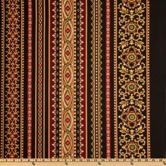 Michael Miller Golden Angel Heavenly Stripe Black from @fabricdotcom  Designed for Michael Miller Fabrics, colors include ruby red, emerald green, gold and black. The stripe is vertical to the selvedge. Use for quilting and craft projects.