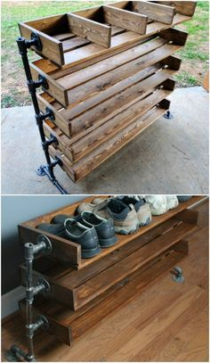 20 Outrageously Simple DIY Shoe Racks And Organizers You'll Want To Make Today How many pairs of shoes do you own? I have way more than I can count on one hand, which means that I need tons of shoe storage. I can't help my shoe obsession. Homemade Shoe Rack, Homemade Shoes, Shoe Cubby, Diy Shoe Storage, Diy Shoe Organizer, Storage Ideas, Closet Storage, Shoe Rack With Cubbies, Diy Shoe Shelf