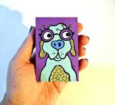 Dog with Glasses colorful wood art blocks by LuckiiArts on Etsy, $8.00