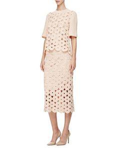 LELA ROSE HALF-SLEEVE CROCHET TOP, BLUSH. #lelarose #cloth #