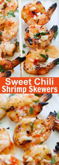 4 Points About Vintage And Standard Elizabethan Cooking Recipes! Sweet Chili Shrimp Skewers - Perfectly Grilled Shrimp On Sticks, Marinated With Thai Sweet Chili Sauce. These Shrimp Skewers Are So Easy To Make And So Delicious Grilled Shrimp Marinade, Easy Grilled Shrimp Recipes, Pork Rib Recipes, Seafood Recipes, Cooking Recipes, Shrimp Appetizers, Grilled Shrimp Skewers, Steak Skewers, Thai Cooking