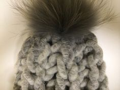 New Super Chunky Light Grey Merino Wool Hat by HandmadeKnitsHats