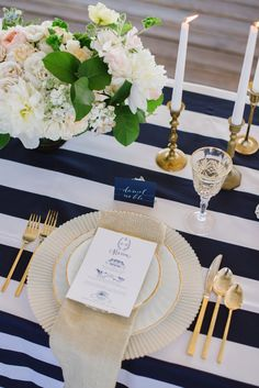 For a nautical inspired wedding; navy and white stripes in your decor are all you need to achieve the look.