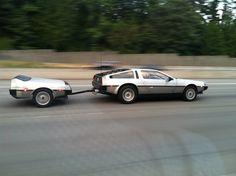 DeLorean with 1/2 DeLorean trailer