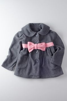 Baby Clothes: Gray Peacoat with Pink Bow Detail My Little Girl, My Baby Girl, Baby Girl Fashion, Kids Fashion, Cute Kids, Cute Babies, Everything Baby, Baby Kids Clothes, Fashion Moda
