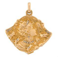 A. Brandt + Son - Art Nouveau French 18kt Diamond Repousse Slide Locket