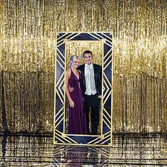 Pose behind this Art Deco Large Mirror Standee for beautiful photo ops! Each mirror standee is printed on cardboard and measures 7 feet 6 inches high.