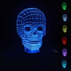 Creative lampara lava 3D Illusion Bulbing LED Night Light  7 Color Changing LED Desk Lamp USB Lampara de lava Skull Lamp