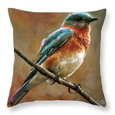 Throw Pillows - Abstract Throw Pillow featuring the painting Decorative Digital Bird A121316 by Mas Art Studio,  #Decorative #Digital #Bird   #Martha #Ann #Sanchez, #MasArtStudio #MarthaAnnSanchez #Abstract # Autumn #Blue #Colorful #Cyan #Digital #Nature #Bird #Wildlife #Contemporary
