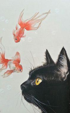Goldfish and black cat - - Katzen - Cat Drawing Illustration Art Nouveau, Black Cat Illustration, Cat Illustrations, Illustration Artists, Photo Chat, Cat Wallpaper, Goldfish Wallpaper, Cat Colors, Aesthetic Art