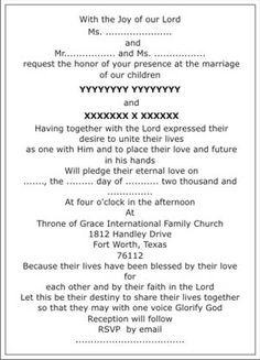 Christian Wedding Invitation Verses | Wordings Text Sample 7 Text Sample 8  Text Sample 9
