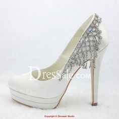 Stiletto Heel Platform Bridal Shoes with Shining Rhinestones