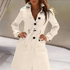 Sexy Single Breasted Belted Trench Coat – Daisy Dress For Less