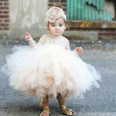 Baby Infant Toddler Pageant Clothes flower girl dress, long sleeve lace tutu dress, ivory and champagne flower girl dress wedding dresses Flower Girl Photos, Tulle Flower Girl, Wedding Flower Girl Dresses, Dress Wedding, Baby Wedding Outfit Girl, Toddler Flower Girl Dresses, Princess Flower, Tulle Flowers, Lace Wedding
