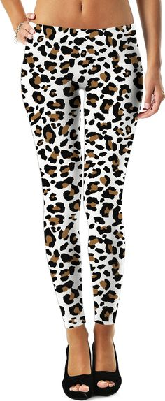 3247b65ddf White and brown leopard pattern leggings, custom vector theme,casual girls  clothing, camo
