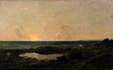 Charles-François Daubigny - Coucher de soleil sur la côte à Villerville (1865)