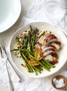 Roasted Chicken Breast with Asparagus and Anchovy Walnut Cream