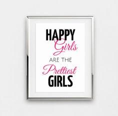 Audrey Hepburn quote, Happy girls are the prettiest, Audrey Hepburn saying, poster bedroom decor girls room black pink pretty modern art