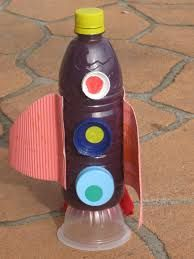 Image result for rocket ship made of carton Paper Bowls, Paper Plates, Build A Rocket, Red And Blue Make, Crafts From Recycled Materials, Red Felt, Recycling Bins, Ufo, Drink Bottles