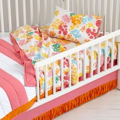 "So Darling!  Perfect for Miss A's Gray and White ""Big Girl Bed"" - Floral Gem Toddler Sheet Set"
