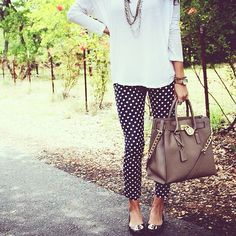 Teacher style- polka dot pants. Teacherlookbook.com