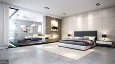 modern bedroom design with big bedroom large glass wall large white curtain 2 lampshades on nightstand