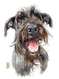 Terrier Dogs Painting - Schultz by Debra Jones