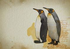 Fabulous Watercolor. Nice detailed penguins in a loose background. The best watercolor has to offer.