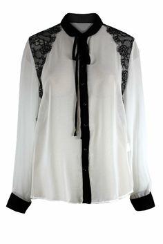 Amazon.com: Curvylicious Women's Plus Size Tie Neck Contrast Shirt 18 Cream: Clothing