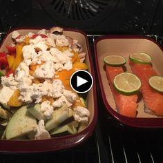 Lachs und Gemüse aus der mittleren und kleinen Ofenhexe von Pampered Chef - Replay App
