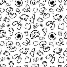 Human internal organs on white Graphics Black outline human internal organs on white, seamless pattern by Evgeniy