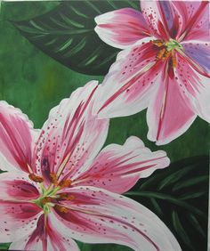 With the Lilies ORIGINAL acrylic painting, green, pink 20X24 inches. $150.00, via Etsy.