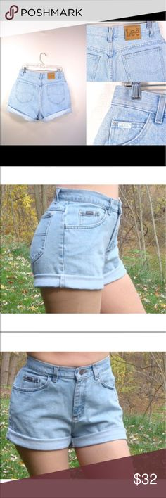 """Vintage Lee High Waisted Shorts size 8 P These are in excellent conditions! No signs of wear. Wear them rolled up or down. Message me with questions. Inseam 5""""  waist 13 1/2"""" laying flat and rise is 12 1/2"""" Lee Shorts Jean Shorts"""