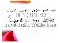 Return Address Stamp- Self Inking Stamp- Rustic Personalized Gift- Rustic Flowers 3 $31