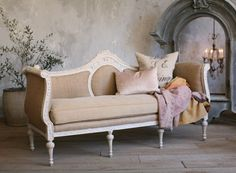 Vintage Shabby Chic Furniture | Vintage Shabby Roses Louis XV French Style Daybed-carved, floral ...