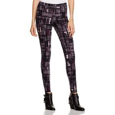 HUE Plaid Scuba Leggings ($52) ❤ liked on Polyvore featuring pants, leggings, steel, hue leggings, white leggings, tartan leggings, hue pants and tartan trousers