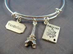 Travel, Passport, Eiffel Tower Silver Bangle Bracelet, Alex And Ani Inspired, Free Gift Box and Free Gift Wrap