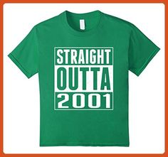 Kids 16th Birthday Gift T-Shirt STRAIGHT OUTTA 2001 Shirt 10 Kelly Green - Birthday shirts (*Partner-Link)