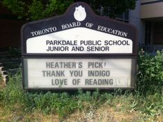 In 2012 Parkdale Junior and Senior Public School became a #HeathersPick to receive an #Indigo #LoveOfReading grant! #IndigoLOR10