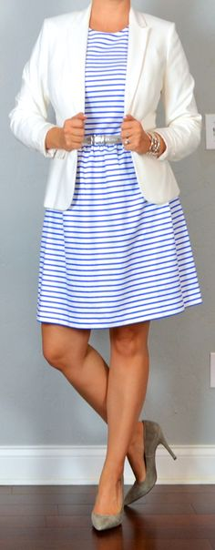 outfit post: striped dress, white/ivory blazer, grey pointed toe pumps | Outfit Posts